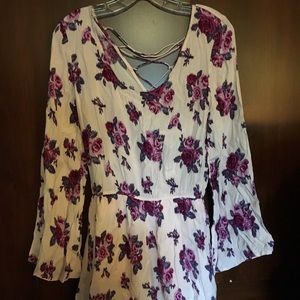 Romantic Floral Rose Ruffle Romper Size Small F21